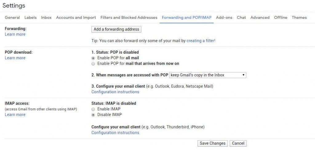 vui mỗi ngày - bật tính năng POP trên Gmail