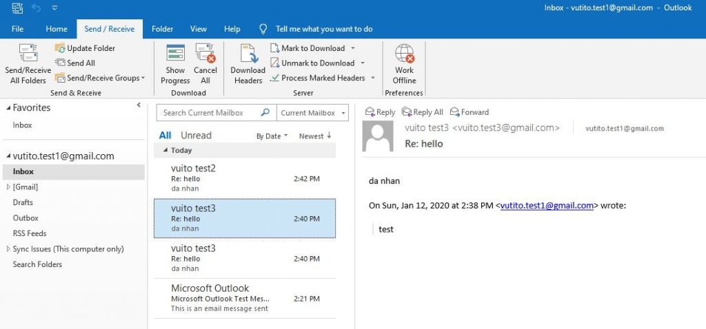 cửa sổ outlook inbox