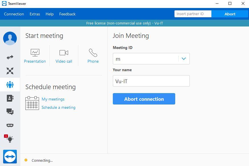 vui mỗi ngày - cài đặt teamviewer 2020 - start meeting