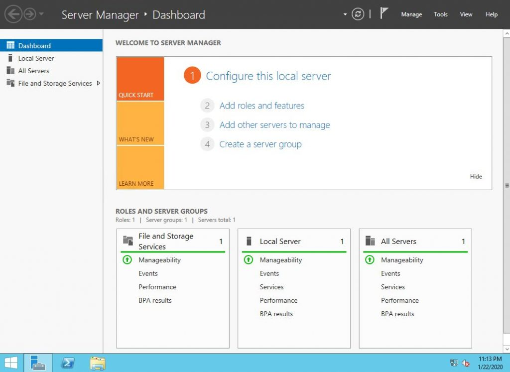 cửa sổ win server 2012