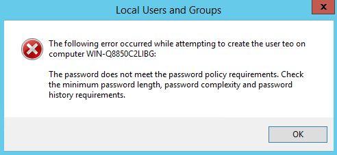 cửa sổ báo mật khẩu phức tạp
