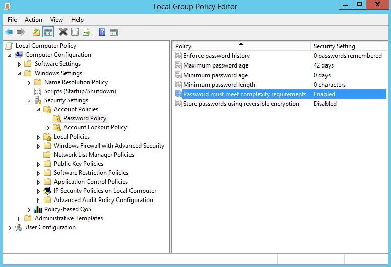 policy bỏ mật khẩu phức tạp