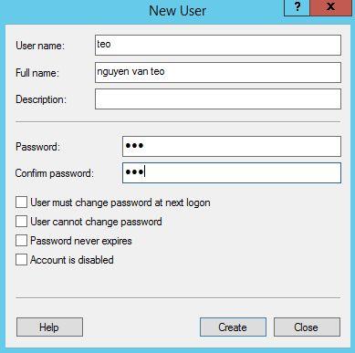 Cửa sổ tạo thông tin Local User trong Win server