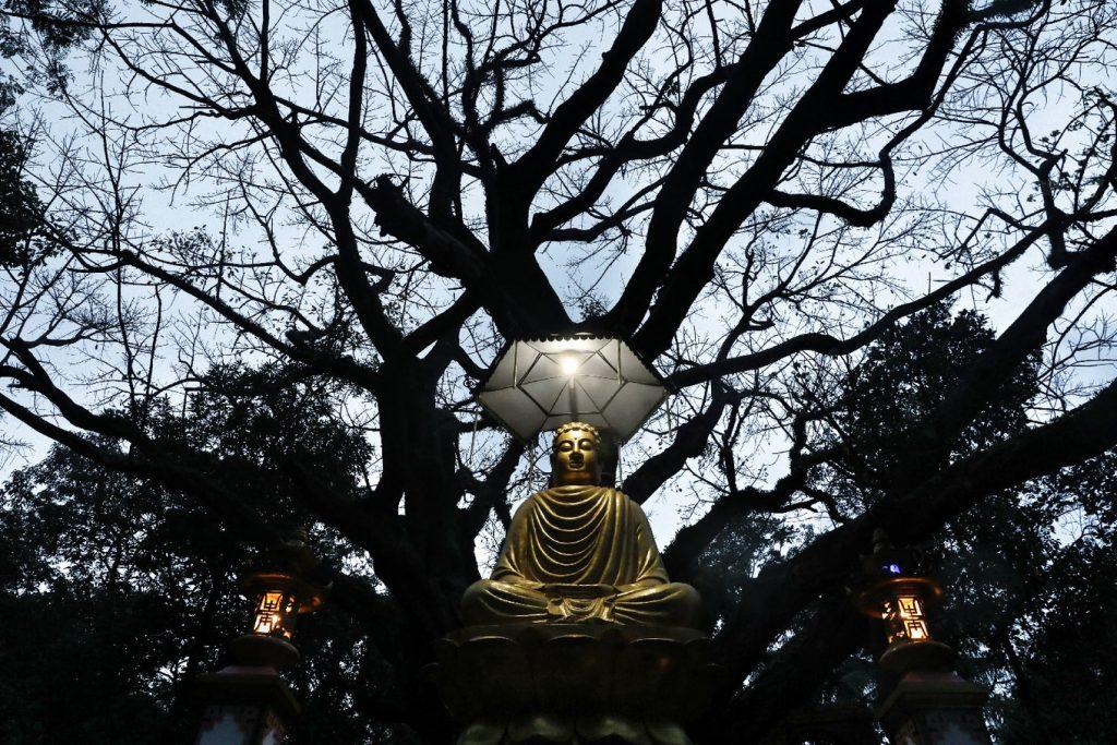 tượng phật tại Chùa 300 tuổi trên đỉnh núi cấm