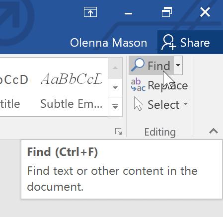 thanh menu sử dụng lệnh Find và Replace trong Word 2016