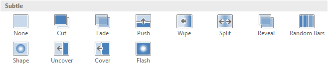 sử dụng hiệu ứng slide transitions