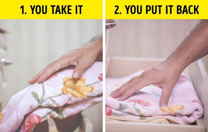 Sắp xếp khăn trong tủ