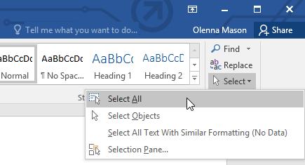 Các thao tác xử lý văn bản chọn toàn bộ văn bản