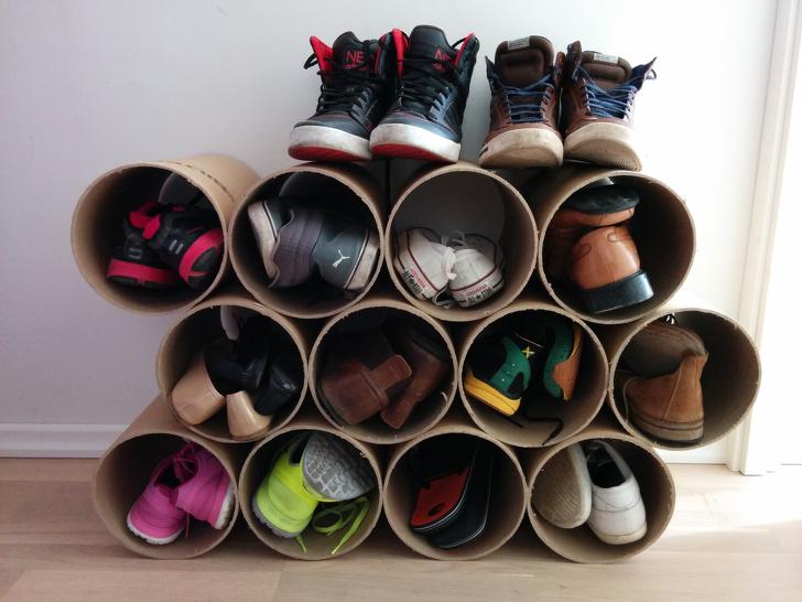 17 mẹo dọn dẹp nhà cửa Tủ đựng giầy bằng ống các tôn
