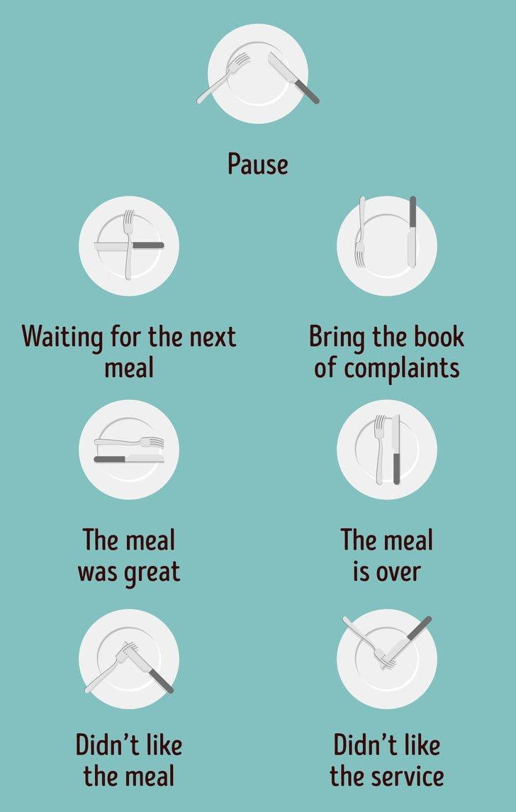 Các quy tắc của nĩa và dao cho 1 bữa ăn