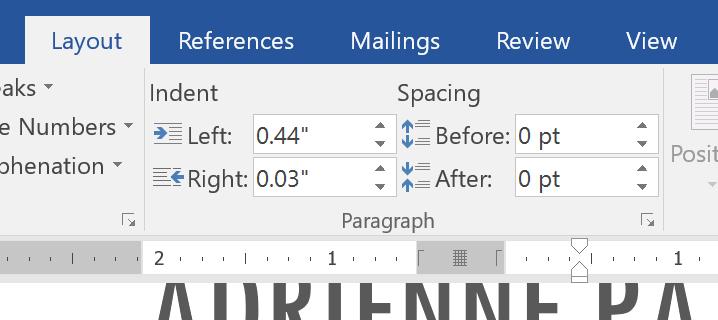 tùy chỉnh khoảng cách indents