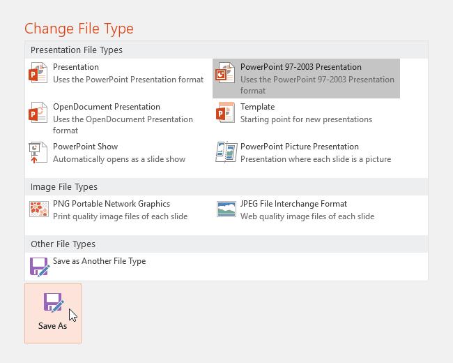 Lưu bản thuyết trình với PowerPoint 2016 - lựa chọn các định dạng