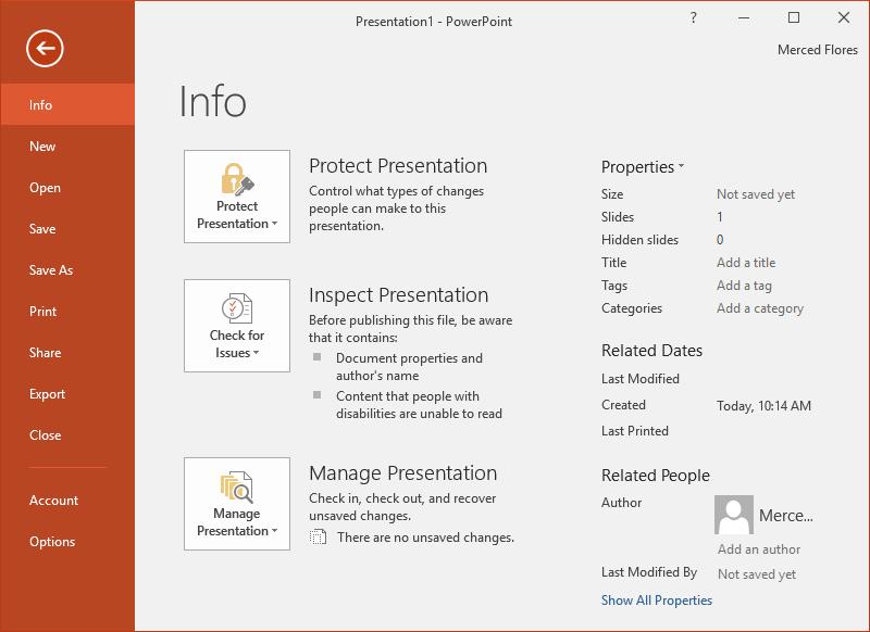 các lệnh trong trình đơn file powerpoint 2016