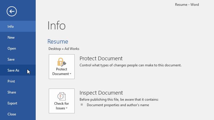 lưu và thay đổi định dạng tập tin trong Word 2016 lệnh save as
