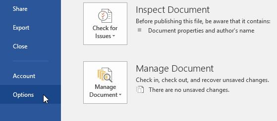 lưu và thay đổi định dạng tập tin trong Word 2016 các lựa chọn