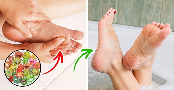 Rửa chân khi tắm hàng ngày
