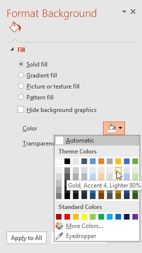 Khái niệm cơ bản về slide cho Powerpoint 2016 thay đổi màu nền