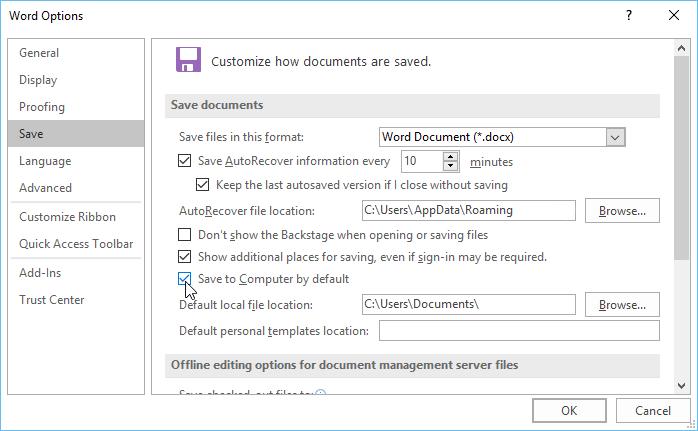 Cửa sổ thay đổi vị trí lưu file mặc định