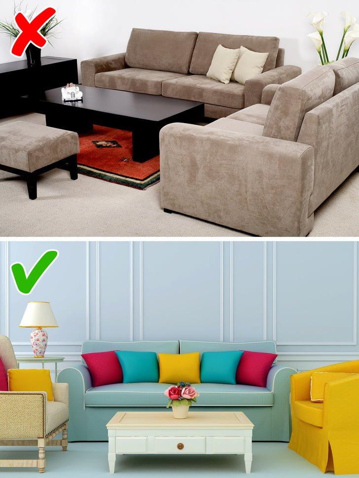 10 quy tắc trang trí thiết kế nội thất - lựa chọn đồ nội thất