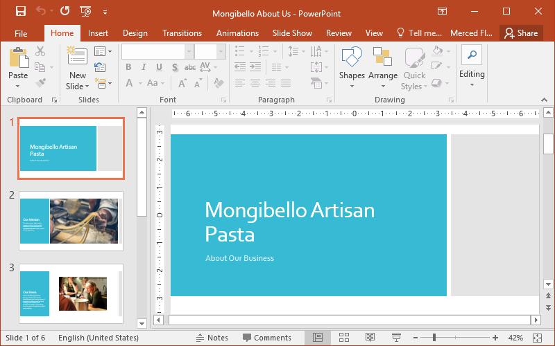 học tin học văn phòng online - giao diện chính powerpoint 2016