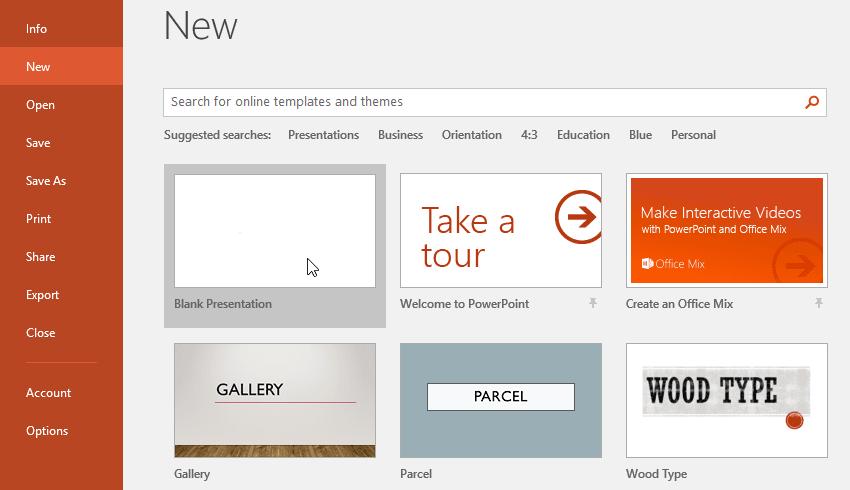 tạo và mở mới một file PowerPoint 2016 - lệnh create