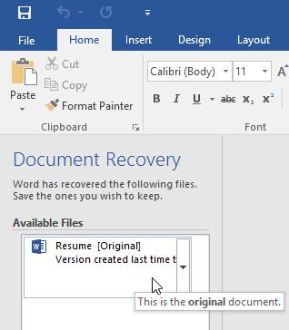 lưu và thay đổi định dạng tập tin trong Word 2016 auto recover