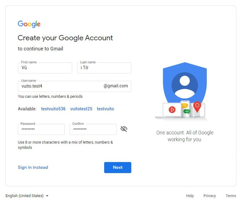 Cách tạo tài khoản gmail khai báo thông tin