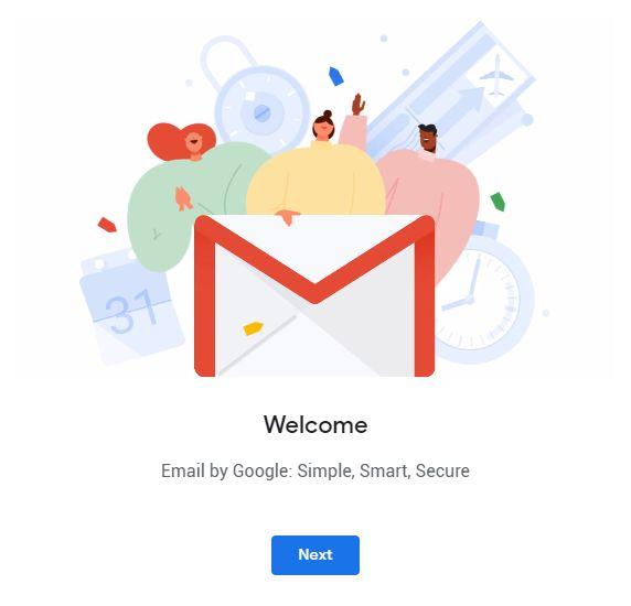 màn hình welcome tài khoản gmail