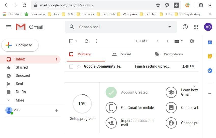 Giao diện trang Gmail