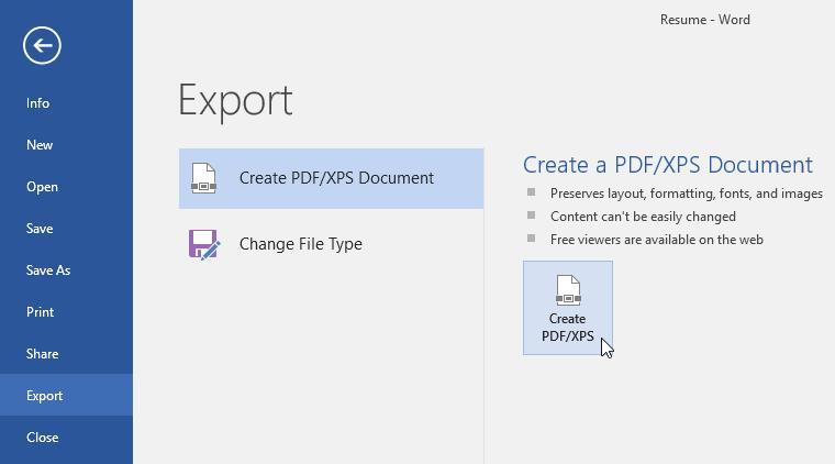 cửa sổ export word 2016
