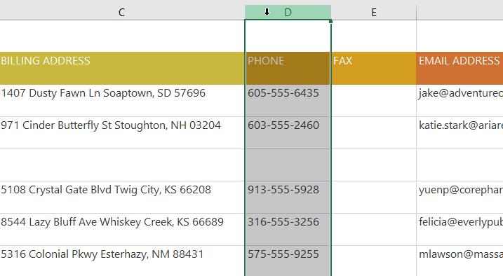 các thao tác với hàng và cột trong Excel 2016 di chuyển cột