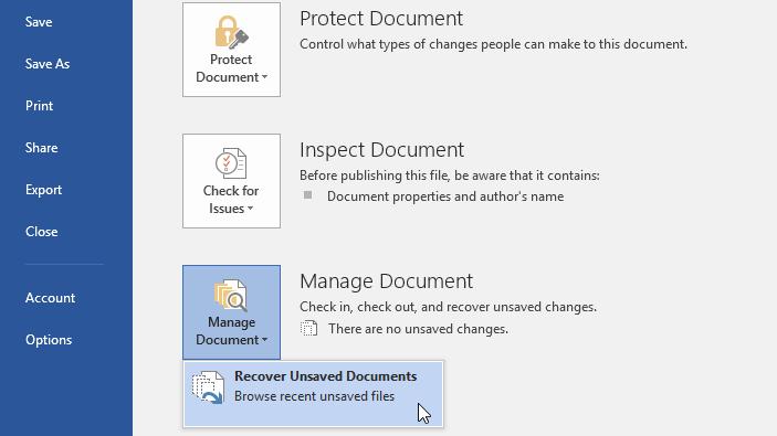 lưu và thay đổi định dạng tập tin trong Word 2016 recover unsaved documents