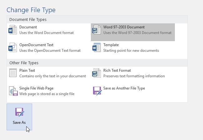 lựa chọn định dạng file trong word