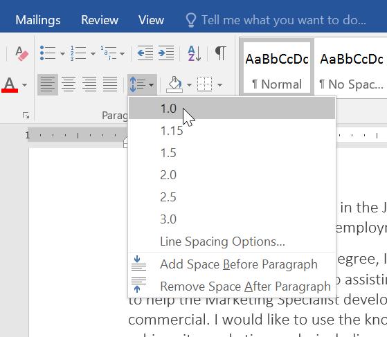 sử dụng line và paragraph spacing trong Word 2016 chọn khoảng cách dòng
