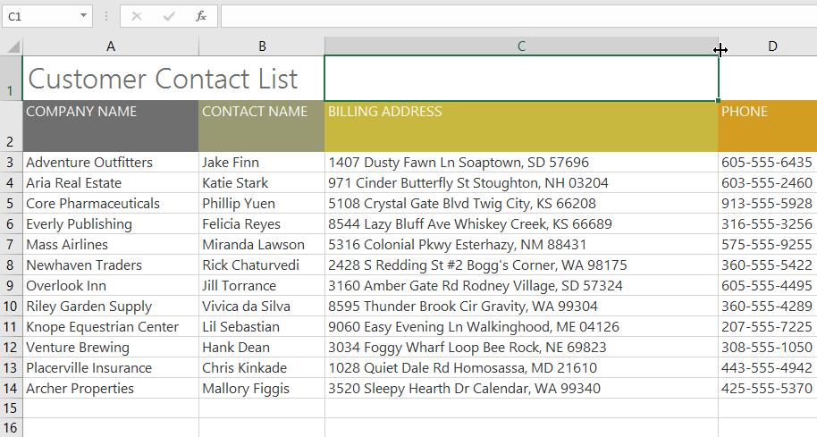 các thao tác với hàng và cột trong Excel 2016 đổi chiều rộng 2
