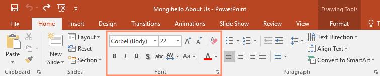 nhóm công cụ định dạng trong Powerpoint 2016