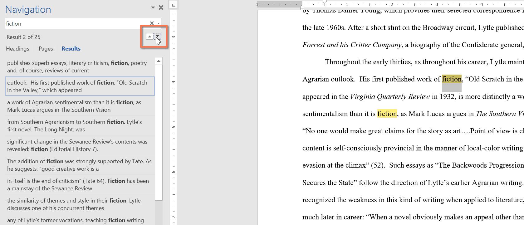 sử dụng lệnh Find và Replace trong Word kết quả tìm kiếm trả về