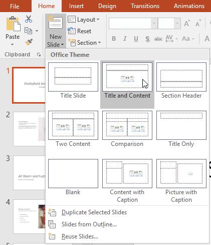 Khái niệm cơ bản về slide cho Powerpoint 2016 - chọn layout