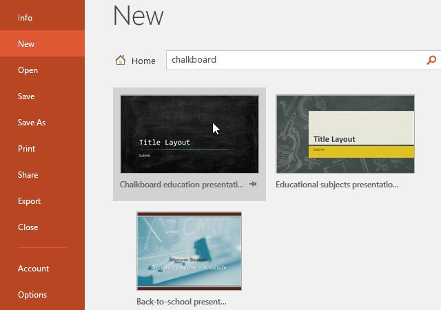 tạo và mở mới một file PowerPoint 2016 dùng template