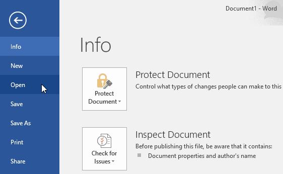tạo tài liệu mới trong Word mở tài liệu có sẵn