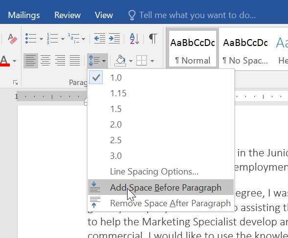 sử dụng line và paragraph spacing trong Word 2016 chọn khoảng cách đoạn