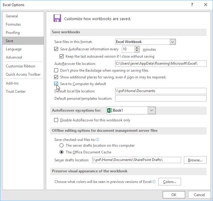 sao lưu và chia sẻ Workbooks trong Excel 2016 thay đổi thư mục lưu file mặc định