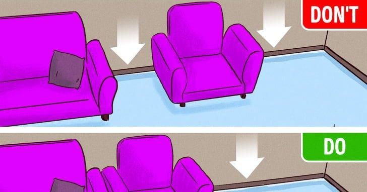 Nên đặt các đồ nội thất gần nhau