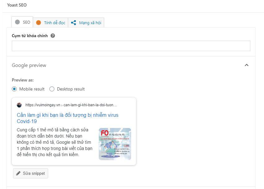 tối ưu SEO onpage cho bài viết wordpress bằng chỉ số Yoast