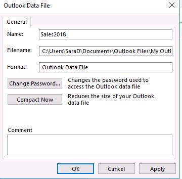 đổi tên thư mục Archive trong Outlook