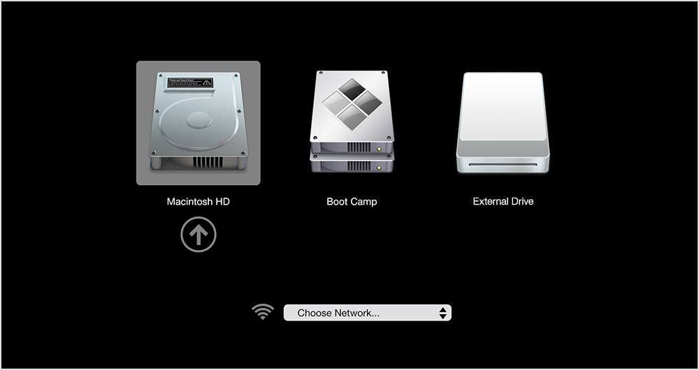 Cách chọn ổ đĩa Boot trong chế độ recovery của Mac OS
