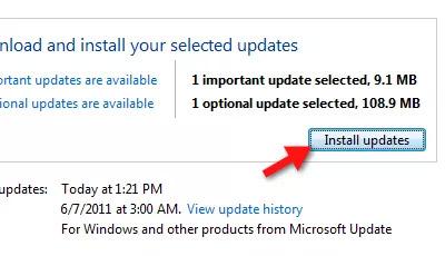 Chọn Install updates để bắt đầu