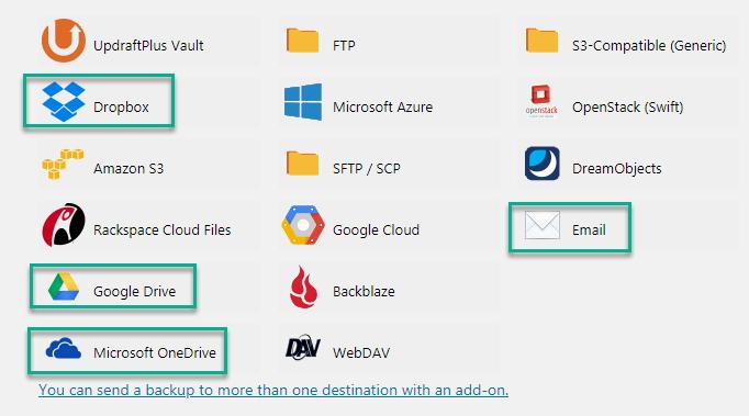 plugin updraftplus - Lựa chọn nơi lưu trữ ngoài nơi đặt website sẽ tốt hơn